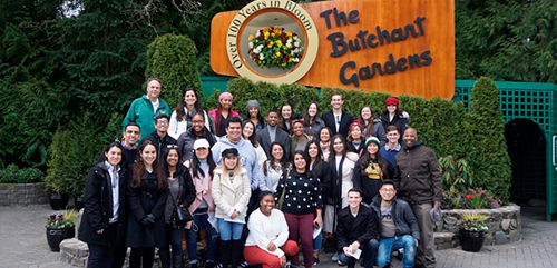 """Students who took Political Science Professor Reese's """"NGOs and Social Service Outreach"""" course in the winter quarter traveled to Vancouver and Victoria, British Columbia over spring break to meet with Canadian NGOs and see the sites."""