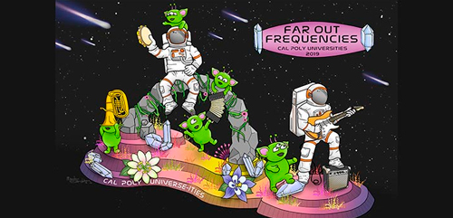 """The Cal Poly Universities' float, """"Far Out Frequencies,"""" for the 2019 Rose Parade."""